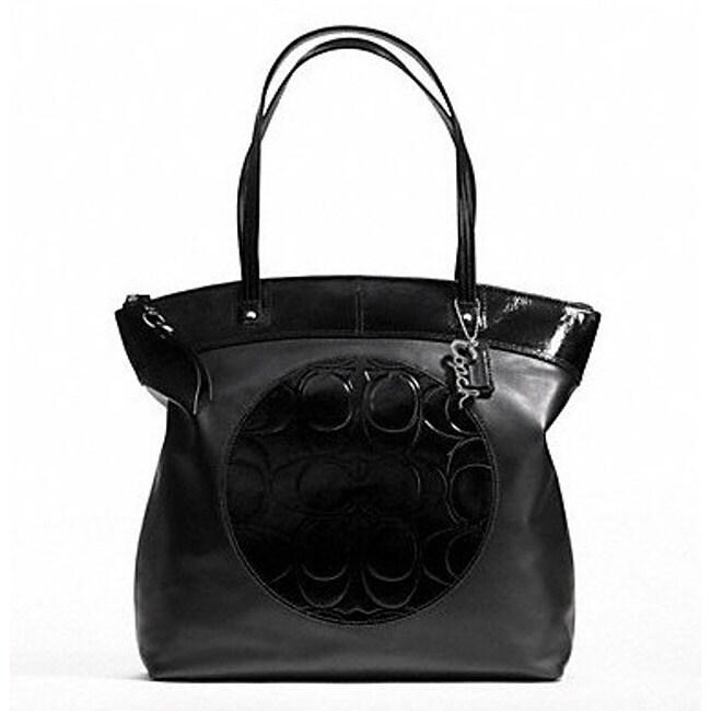 Coach 'Laura' Logo Black Leather Tote Bag