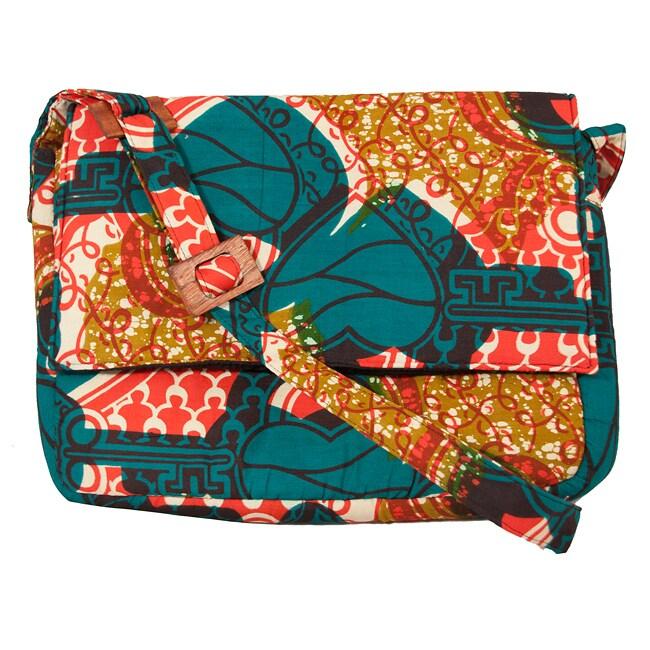 Wax Print 'Key to my Heart' Messenger Bag (Rwanda)