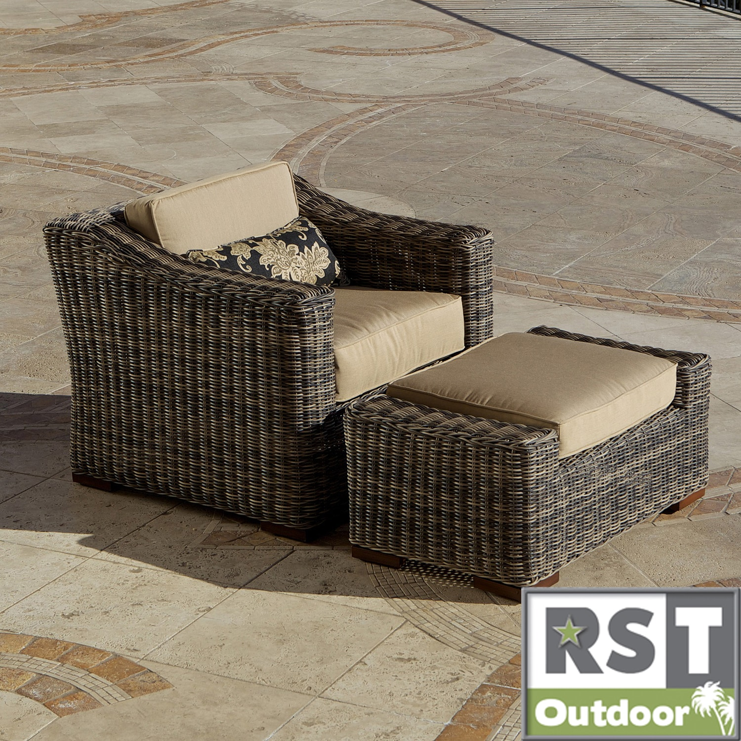 RST Resort Collection Weathered Grey Outdoor Club Ottoman