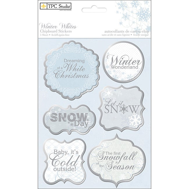 Winter Whites 'Phrases' Chipboard Stickers Sheet