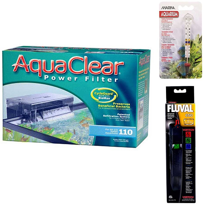 AquaClear 110 Power Filter Fluval E 50 Watt Heater and Thermometer