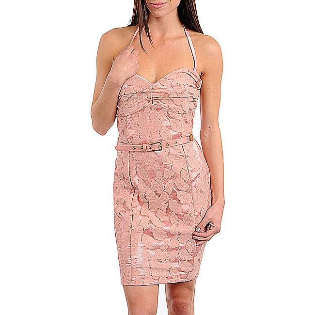 74a93b4927f Shop Stanzino Women s Dusty Pink Belted Halter Dress - Free Shipping On  Orders Over  45 - Overstock.com - 6574946