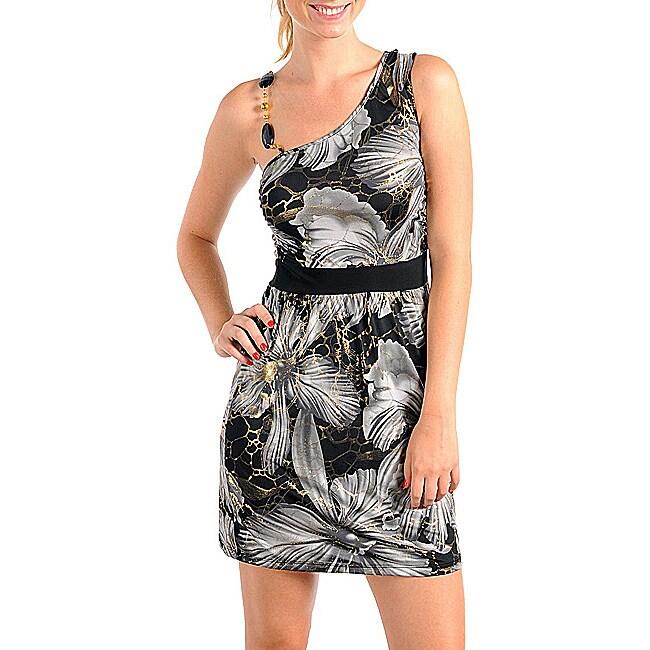 Stanzino Women's Gray/ Black/ Gold Asymmetrical Floral Print Dress