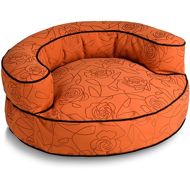 Crypton 'Bed of Roses' Bolster Orange 36-Inch Dog Bed