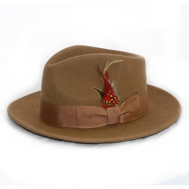 Ferrecci Men's Tan Wool Felt Banded Fedora Hat