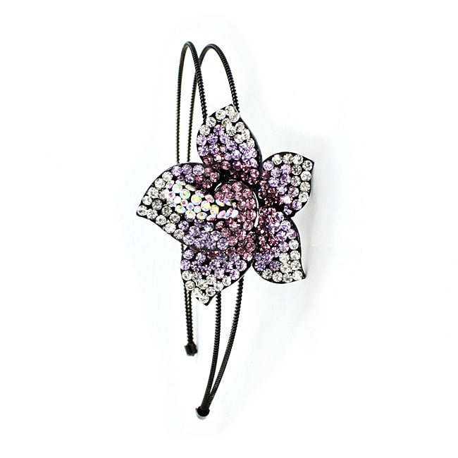 Kate Marie Purple Floral Headband with Austrian Crystal Rhinestones
