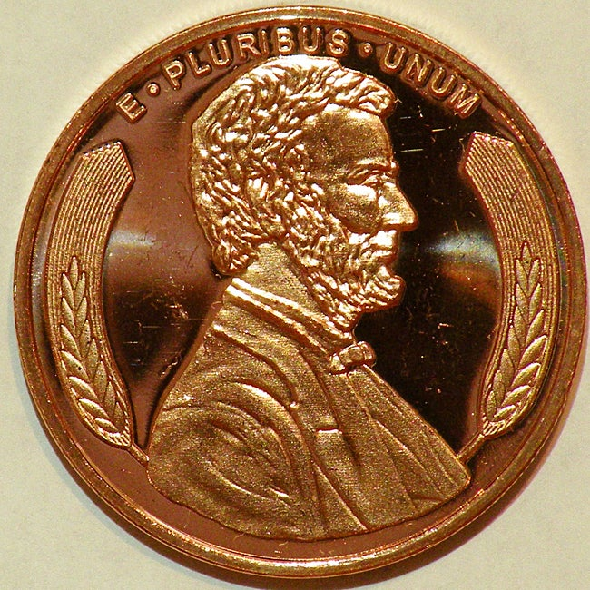 Money Trader 1-oz 999 Pure Copper Bullion 2012 Lincoln Design Coin