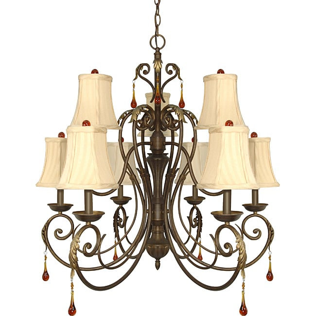 Nuvo Lighting 'Cortina' 9-light Dune Gold Chandelier - Thumbnail 0