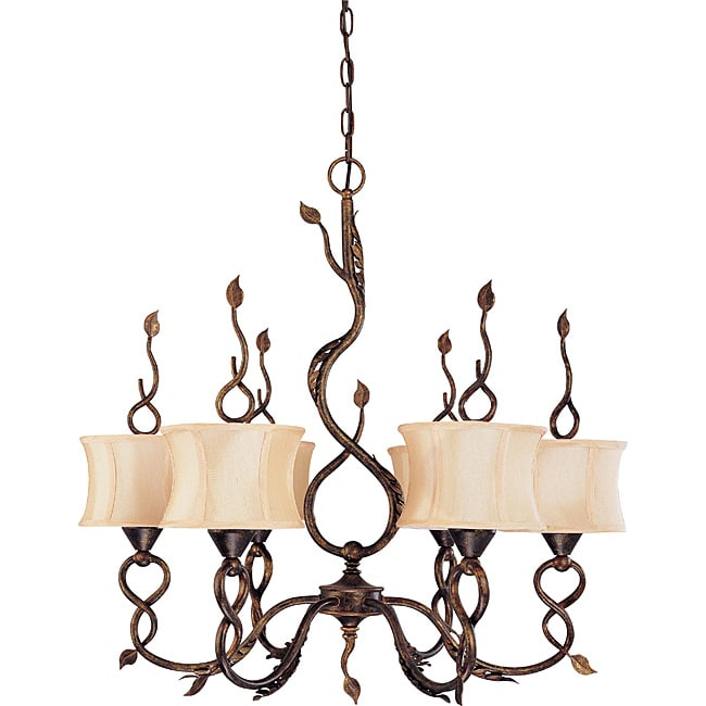 Trellio Chandelier 6-light Autumn Gold Finish with Beige Shantung Shades