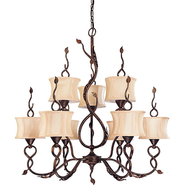 Trellio Chandelier 9-light 2-tier Autumn Gold Finish with Toffee Crunch Glass