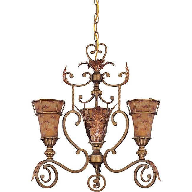 Marmount Chandelier 3-light Antique Gold Finish with Art Nouveau Glass
