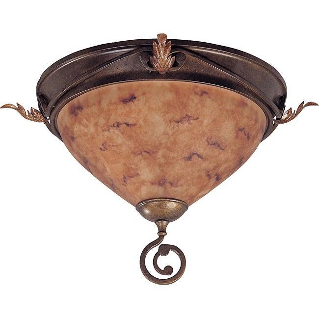 Marmount Flush Dome 2-light Antique Gold Finish with Art Nouveau Glass