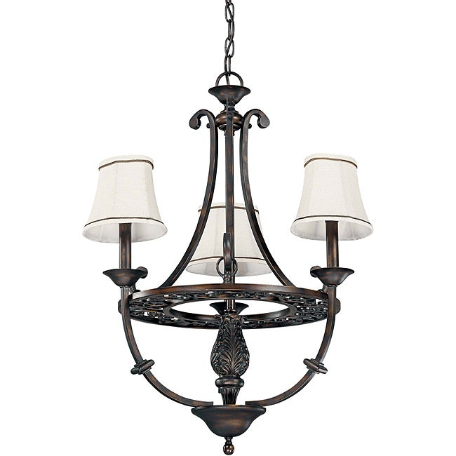 Pickford Chandelier 3-light Distressed Bronze Finish with Natural Linen Shades