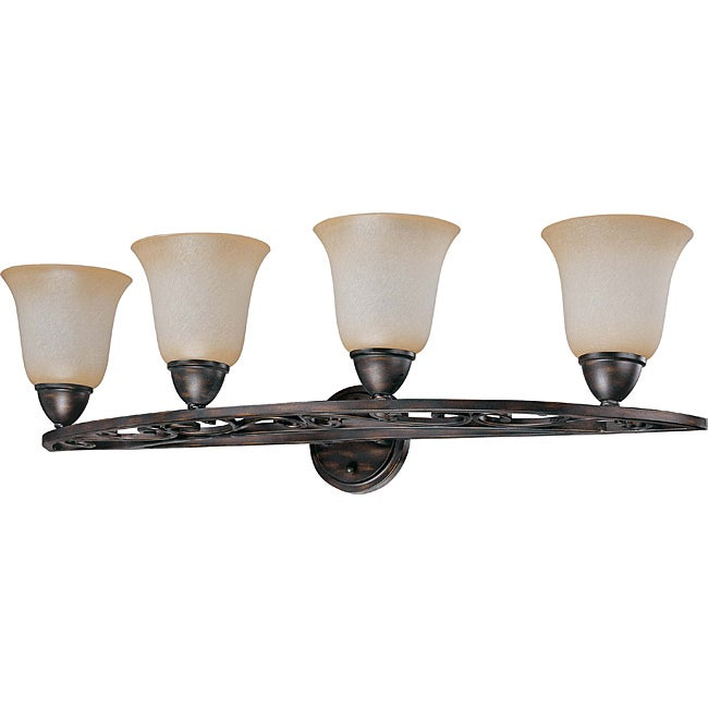 Pickford Vanity and Wall 4-light Distressed Bronze Finish with Brushed Wheat Glass