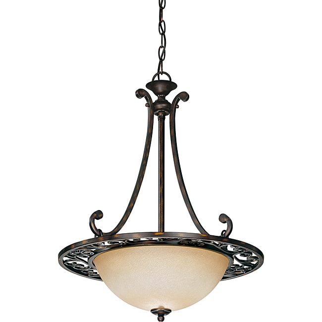 Pickford Pendant 3-light Distressed Bronze Finish with Brushed Wheat Glass