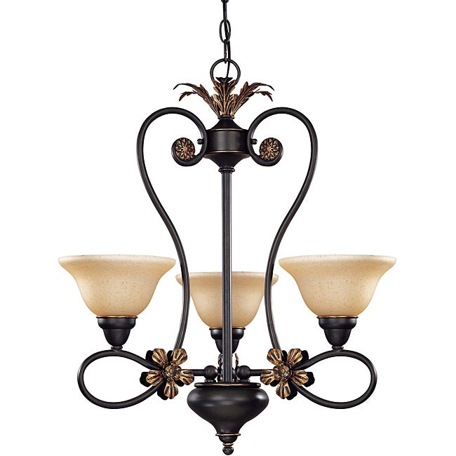 Francesca Chandelier 3-light Rustic Bronze Finish with Tangerine Peel Glass - Thumbnail 0