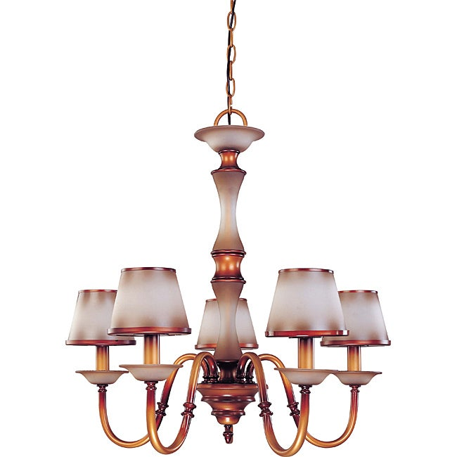 Cornelia Chandelier 5-light Newport Copper Finish with Autumn Haze Glass