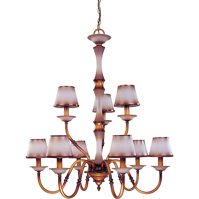 Cornelia Chandelier 9-light Newport Copper Finish with Autumn Haze Glass