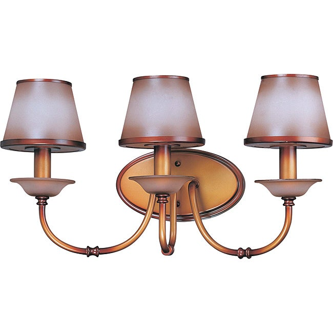 Cornelia Vanity and Wall 3-light Newport Copper Finish with Autumn Haze Glass