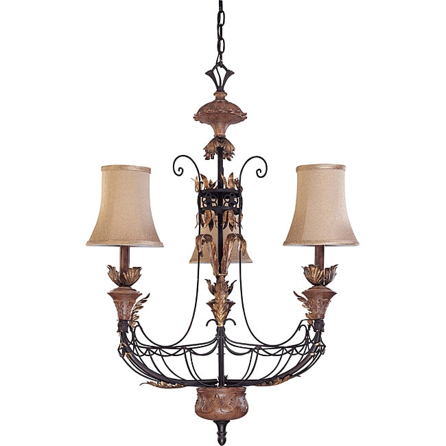 Verdone Chandelier 3-light Gilded Cage Finish with Maple Wood Shade