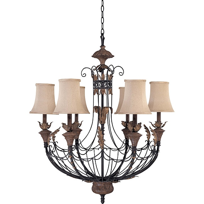 Verdone Chandelier 6-light Gilded Cage Finish with Maple Wood Shade