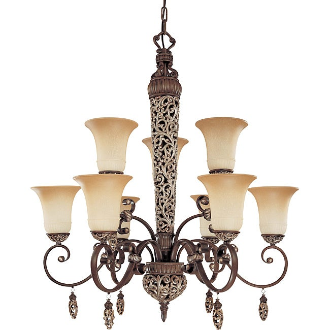 Palermo Chandelier 9-light Cappuccino Finish with Amaretto Glass