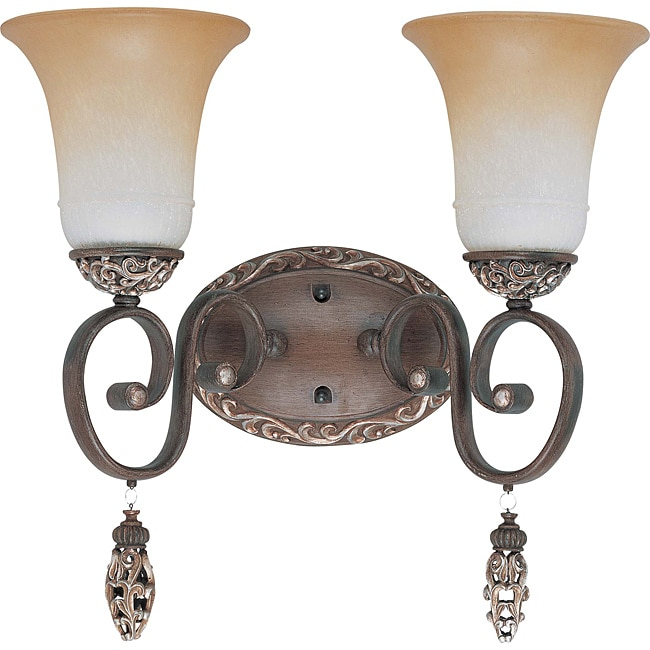 Palermo Vanity and Wall 2-light Cappuccino Finish with Amaretto Glass