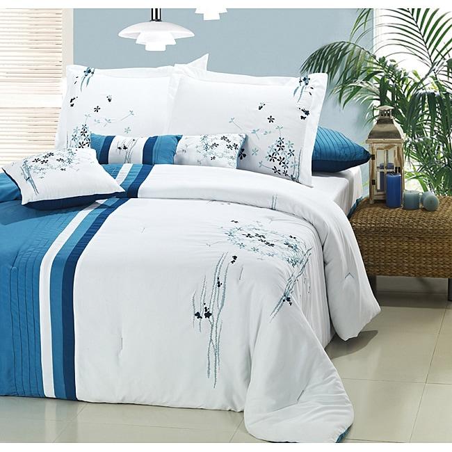 Blue/ White Floral 8-piece Comforter Set