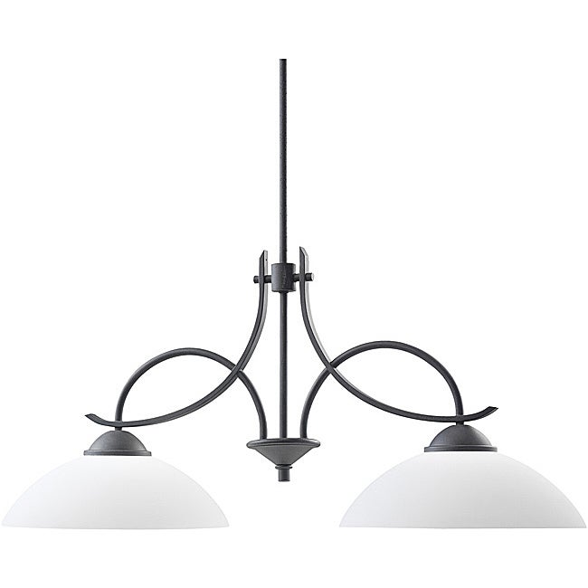 Transitional Distressed Black 2-light Island Light