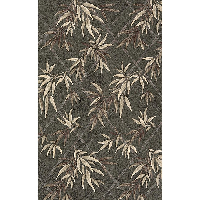 South Beach Indoor/Outdoor Green Leaves Rug (8' x 10')