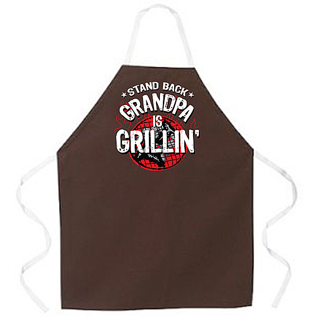 'Stand Back Grandpa is Grillin' Apron-Brown
