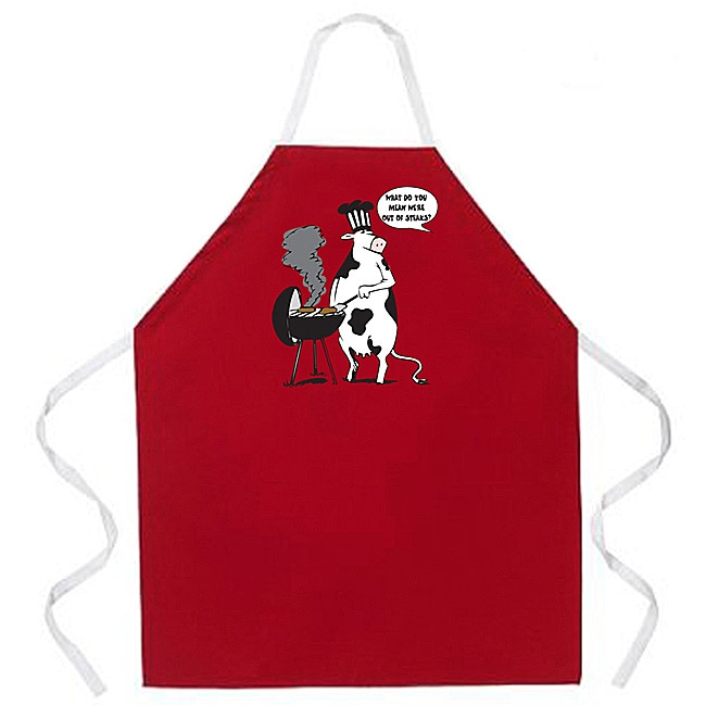'What Do You Mean We Are Out Of Steaks?' Cow Cartoon BBQ Grill Apron-Red