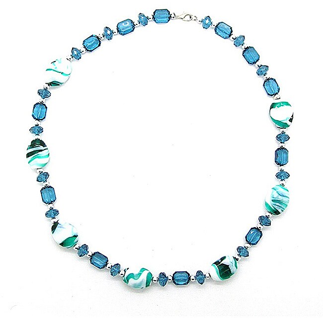 Pearlz Ocean Silvertone Copper Blue Glass Bead Fashion Necklace
