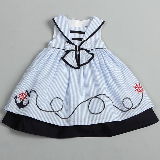 Donita Toddler Girls Light Blue Sailor Collar Nautical