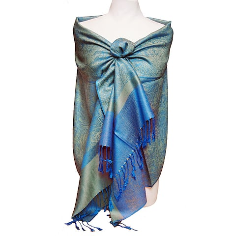 Women's Blue and Green Jacquard Fringe Shawl Wrap