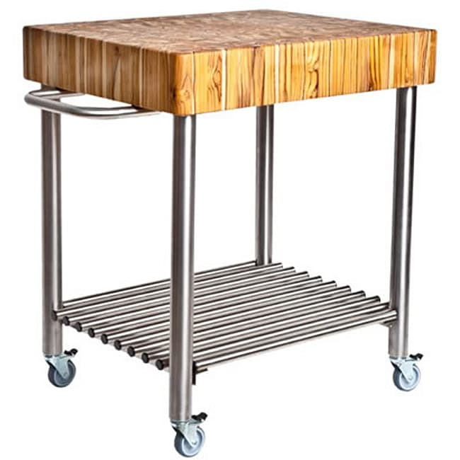 Proteak 701 Butcher Block Cart With Stainless Steel Legs