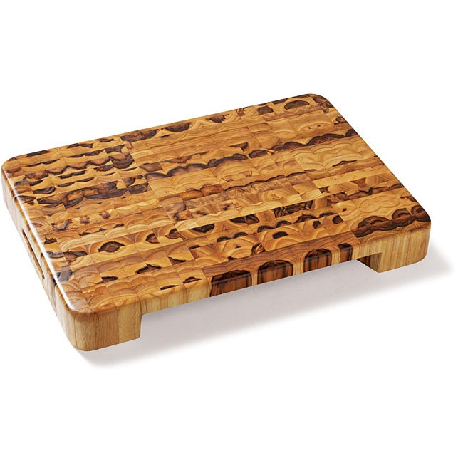 Proteak 601 Rectangular Chopping Block Cutting Board with Hand Grip and Bowl Cut-Out