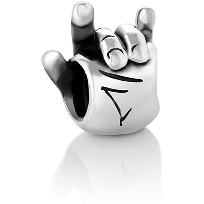 Chuvora Sterling Silver 'I Love You' Hand Sign Charm Bead