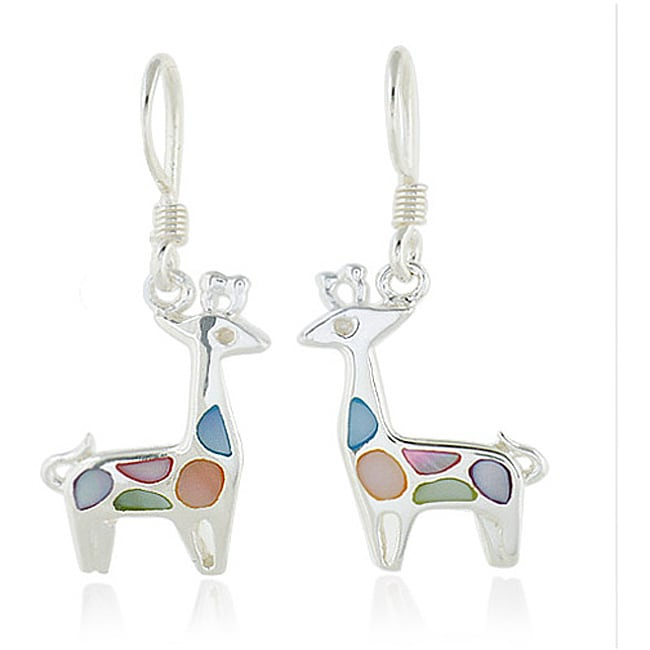 Chuvora Sterling Silver Multi-colored Mother of Pearl Giraffe Earrings