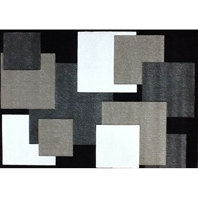 Modern Deco Black Boxes Rug