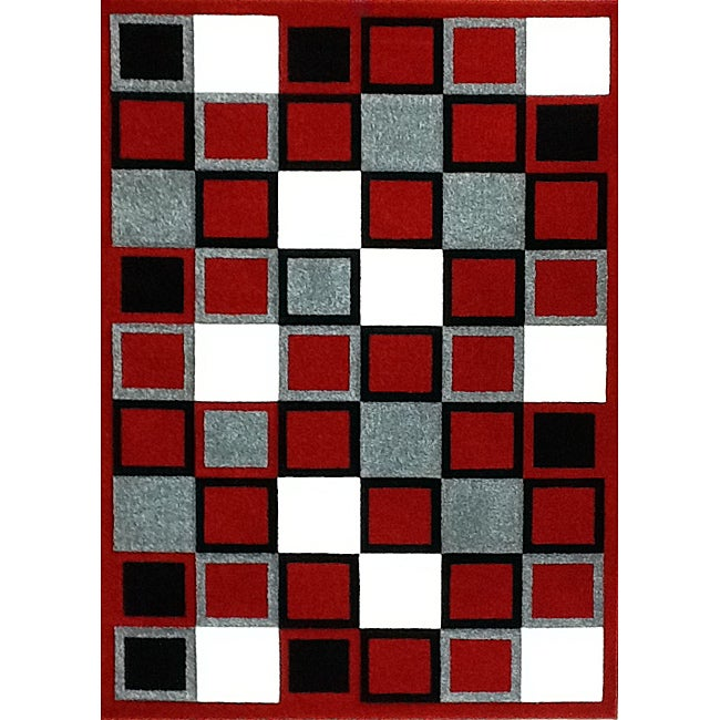 Modern Deco Red Squares Rug (3'9 x 5'1)