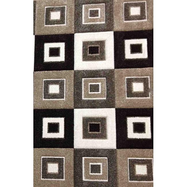 Modern Deco Grey/Brown Blocks Rug (3'9 x 5'1)