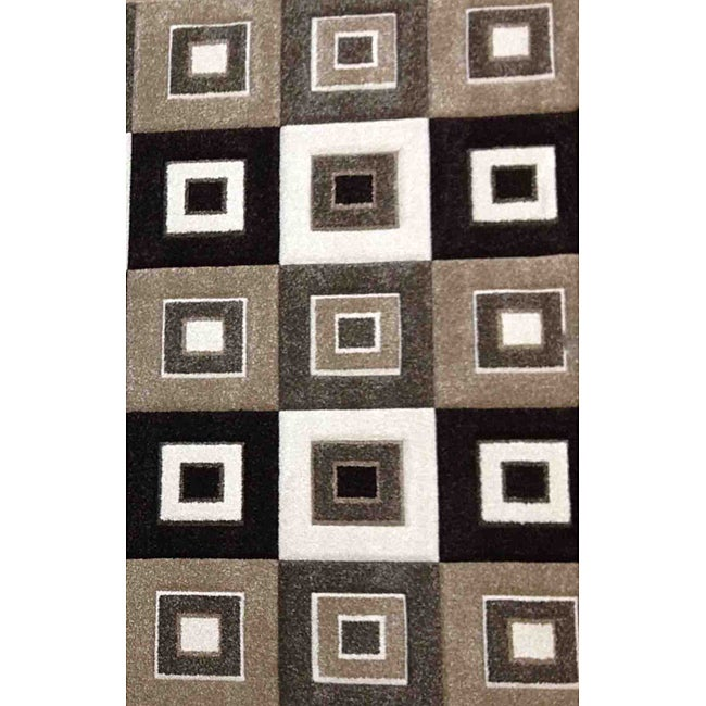 Modern Deco Grey/ Brown Blocks Rug - 5'2 x 7'2