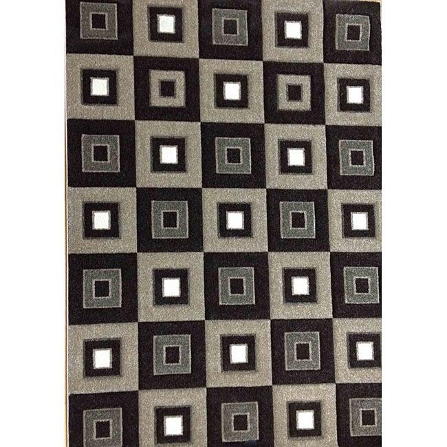Modern Deco Chocolate Blocks Rug (3'9 x 5'1)