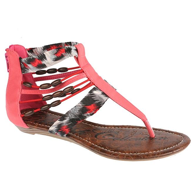 Elegant by Beston Women's 'Cherrie' Coral Gladiator Sandals