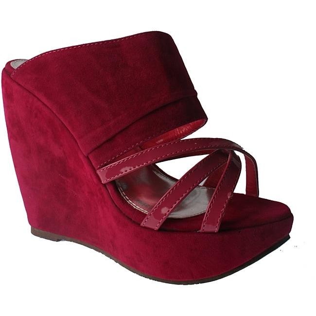 Elegant by Beston Women's Fuchsia Platform Wedges
