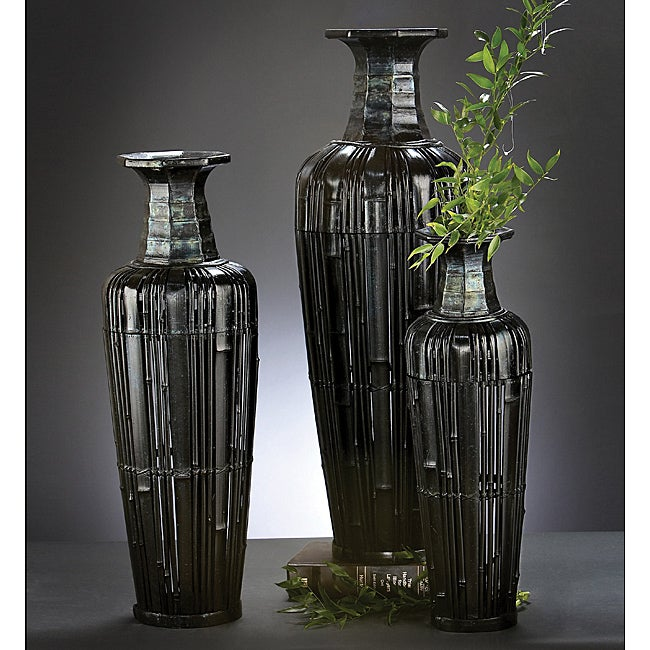 Black Bamboo Vases with Removable Lids (Set of 3)