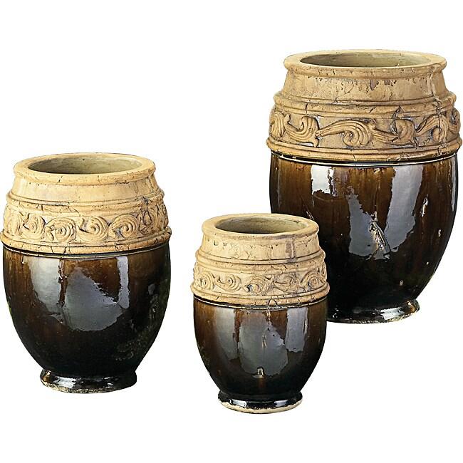 Mottled Moss Green Glaze Ceramic Vases (Set of 3)