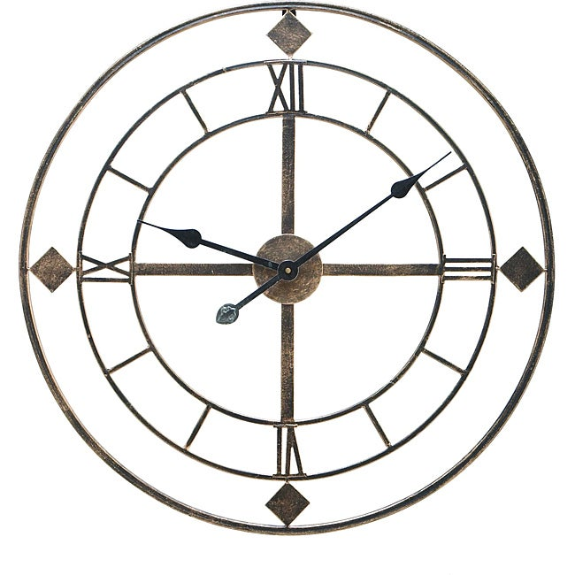 Shop Antique Silver Metal Round Wall Decor Clock Free