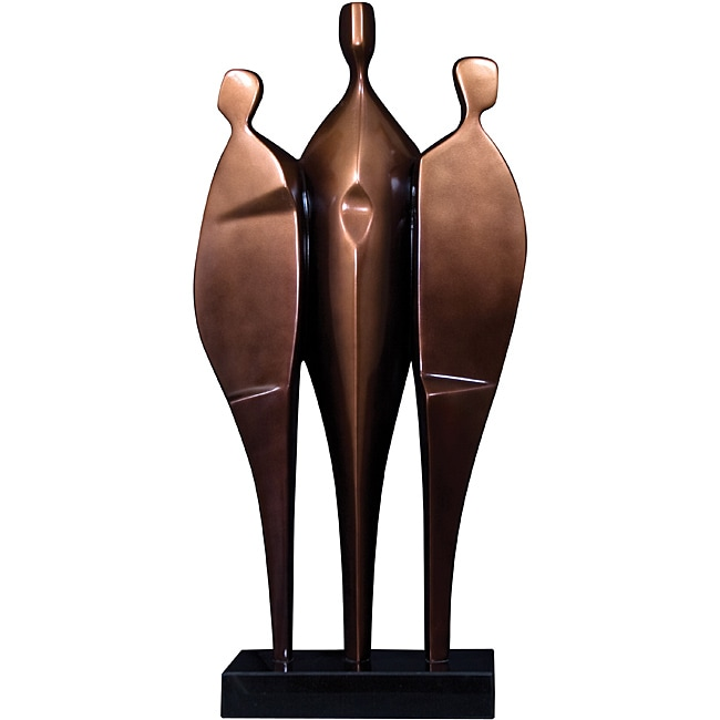 Abstract 3-person Brushed Copper Sculpture with Black Marble Base